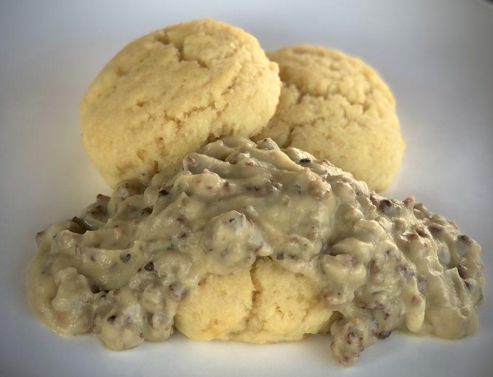 Cauliflower Sausage Gravy with Almond Flour Biscuits